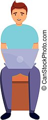 Outsource team member icon, cartoon style
