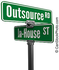 Outsource vs inhouse supply business choice - Street signs...