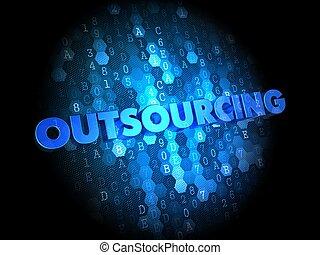outsourcing, 概念, 上に, デジタル, バックグラウンド。