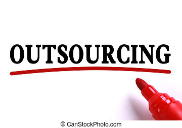 Outsourcing Abstract - Outsourcing text is on white paper...