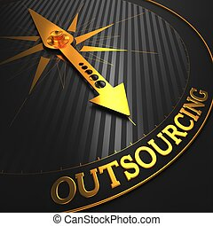 """Outsourcing - Business Concept. Golden Compass Needle on a Black Field Pointing to the Word """"Outsourcing"""". 3D Render."""