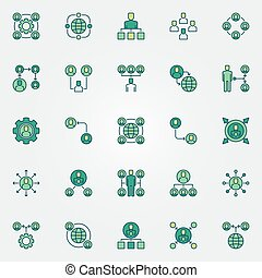 Outsourcing colored icons set - vector outsource signs