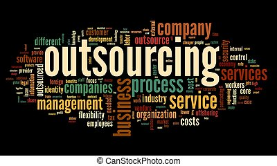 outsourcing, concept, in, woord, label, wolk