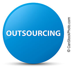 Outsourcing cyan blue round button