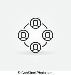 outsourcing, elemento, vettore, disegno, linea, o, minimo, icona