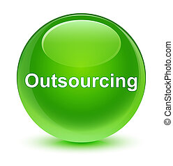 Outsourcing glassy green round button