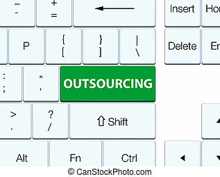 Outsourcing green keyboard button - Outsourcing isolated on...