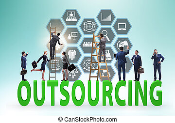 outsourcing, moderne, concept, business