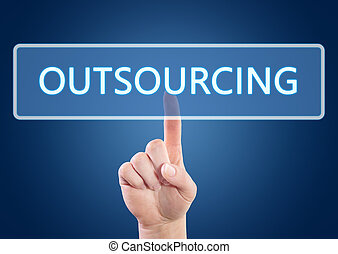 Outsourcing - Hand pressing Outsourcing button on interface...