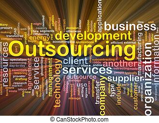 outsourcing, woord, wolk, doosje, verpakken