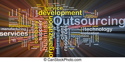 Outsourcing word cloud box package - Word cloud concept...