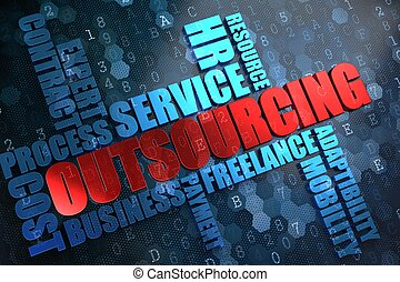 outsourcing., wordcloud, concept.