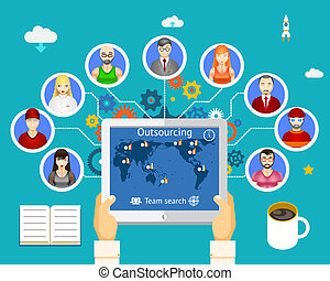 outsourcing work - Outsourcing. Team of professionals...