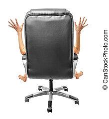 outspread, 팔과 다리, 의자에 앉아 있는 것, back.