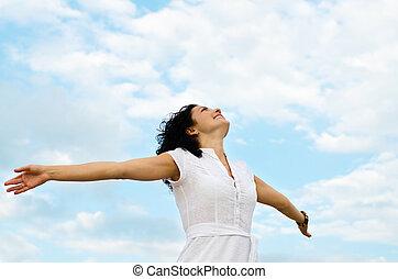 outspread, mujer, brazos, feliz