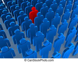 outstanding - 3d rendered illustration of many standing man ...