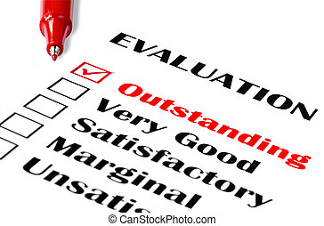 Outstanding Evaluation - Outstanding evaluation. Red pen on...
