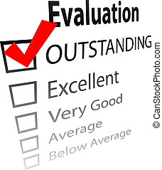 An evaluation for job performance or a grade report card with a 3D check mark in the OUTSTANDING box.
