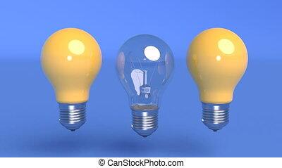 Outstanding light bulb among blue light bulbs Business concept Interior design Creative idea Incandescent lamp pulsates 4k