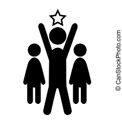 Outstanding Man Win Leader People Flat Icons Pictogram Isolated on White