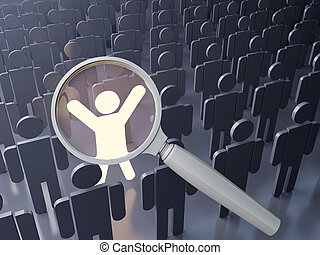 Outstanding people search - Searching concept. Outstanding...