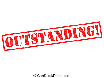 OUTSTANDING! red Rubber Stamp over a white background.