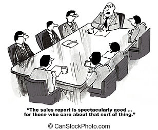 Outstanding Sales Results - Business cartoon about...