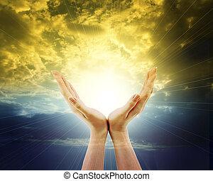 outstreched, sol, céu, direção, mãos, brilhar