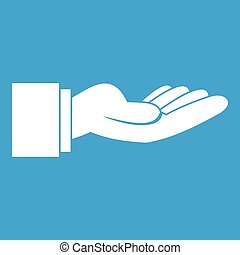 Outstretched hand gesture icon white