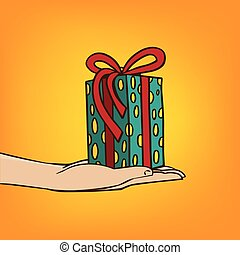 Outstretched hand with gift box