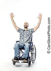 outstretched, hemel, wheelchair, armen, invalide, het glimlachen, uitdrukking, kaukasisch, man