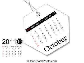 outubro, de, 2011, calendário