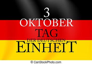 outubro, translation:, deutschen, der, tag, unity., ilustração, einheit., 3, vetorial, alemão, oktober, dia