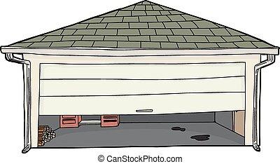 ouvert, établi, moitié, porte, garage