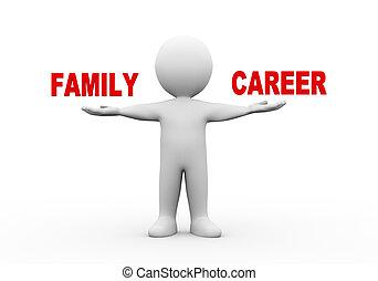 ouvert, 3d, homme, famille, carrière, mains