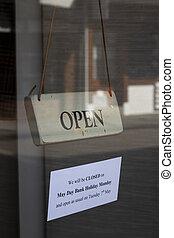 ouvert, affaires signent