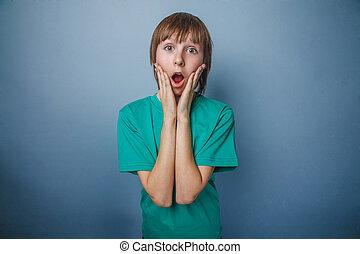 ouvert, années, garçon, vert, sien, chemise, adolescent, douze, bouche
