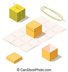 ouvert, arc don, corde, boîtes, fermé, présent