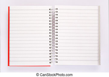 ouvert, cahier