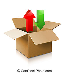 ouvert, carton, box., icon., modèle, boîte, 3d