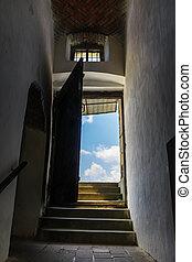 ouvert, ciel, porte, par, étapes