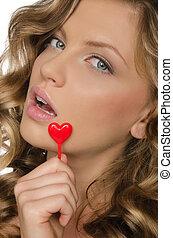 ouvert, coeur, femme, bouche, tenue