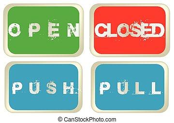 ouvert, coloré, arrêtez-vous, isolé, fond, signes, poussée, blanc, fermé
