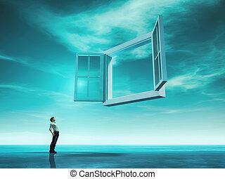 ouvert, concept, fenêtre