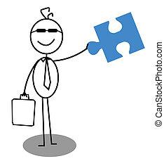 ouvert, coopération, homme affaires