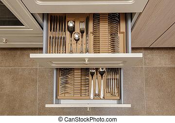 ouvert, cuisine, tiroirs, à, argenterie
