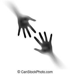 ouvert, deux mains