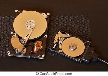 ouvert, dur, disques