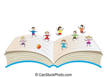 ouvert, enfants, livre, jouer