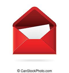 ouvert, enveloppe, icône